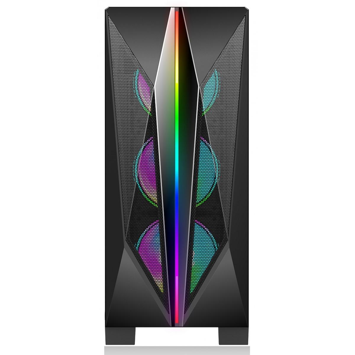 Gabinete Gamer Liketec Killer RGB, Mid Tower, Vidro Temperado, Black, Sem Fonte, Com 3 Fans