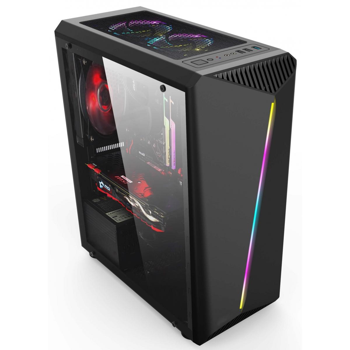 Gabinete Gamer Liketec Lighting RGB Vidro Temperado Mid Tower Preto Sem Fonte
