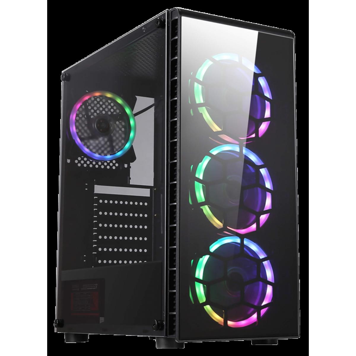 Gabinete Gamer Liketec Prysmat RGB, Vidro Temperado, Mid Tower, Black, Sem Fonte, Com 3 Fans