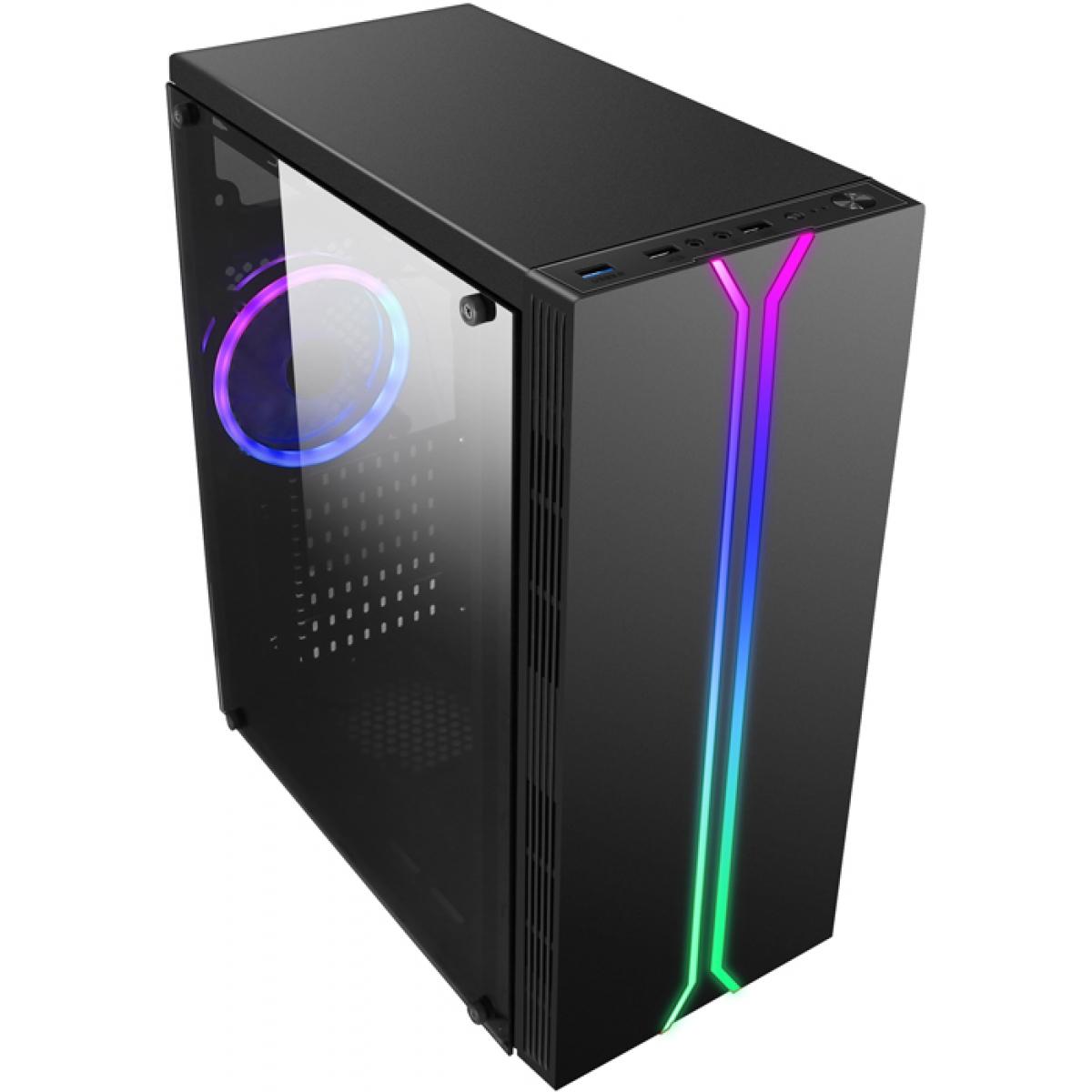 Gabinete Gamer liketec Rainbow RGB, Mid Tower, Vidro Temperado, Black, Sem Fonte, Com 1 Fan