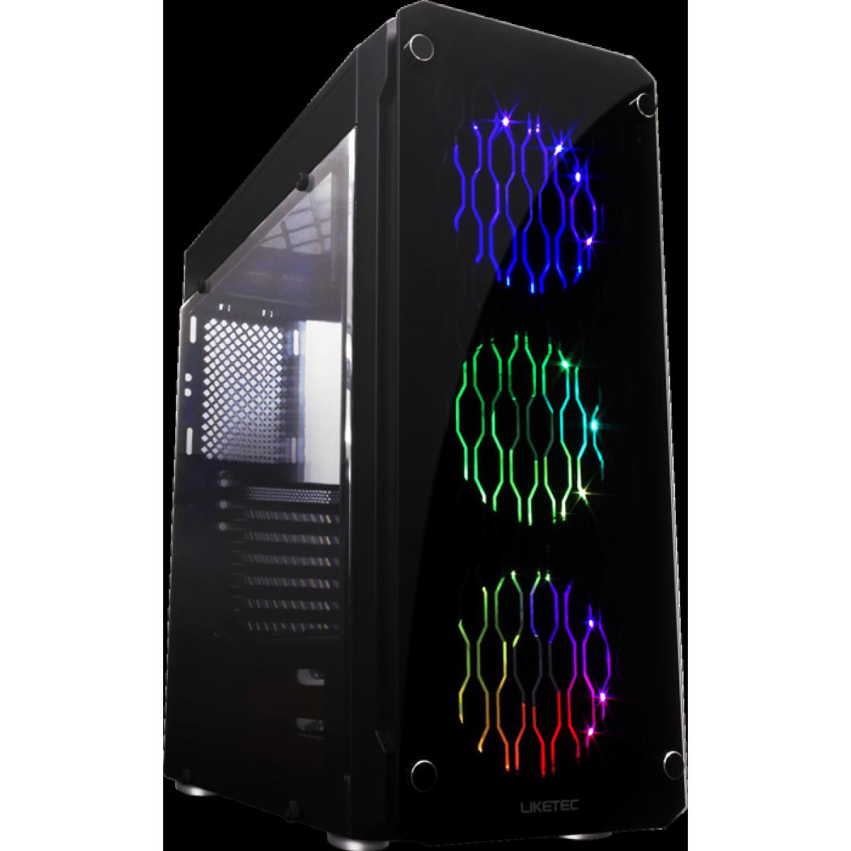Gabinete Gamer Liketec Rutile V2 RGB, Vidro Temperado, Mid Tower, Preto, Sem Fonte