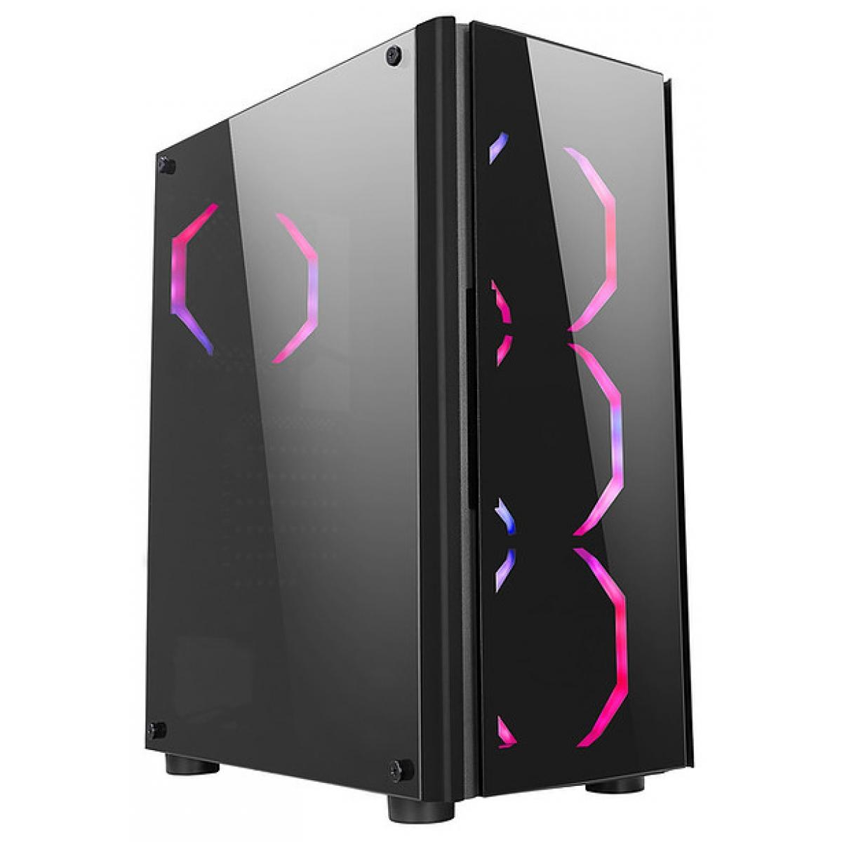 Gabinete Gamer liketec Streamer RGB, Mid Tower, com 3 Fan, Vidro Temperado, Black, S-Fonte