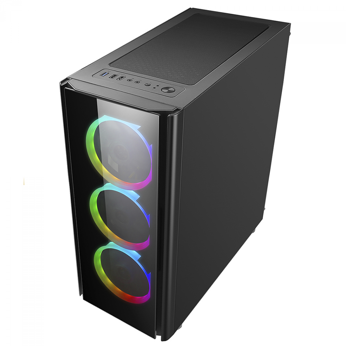 Gabinete Gamer Liketec Streamer V2, Mid Tower, RGB, Vidro Temperado, Black, ATX, Sem Fonte, Com 3 Fans