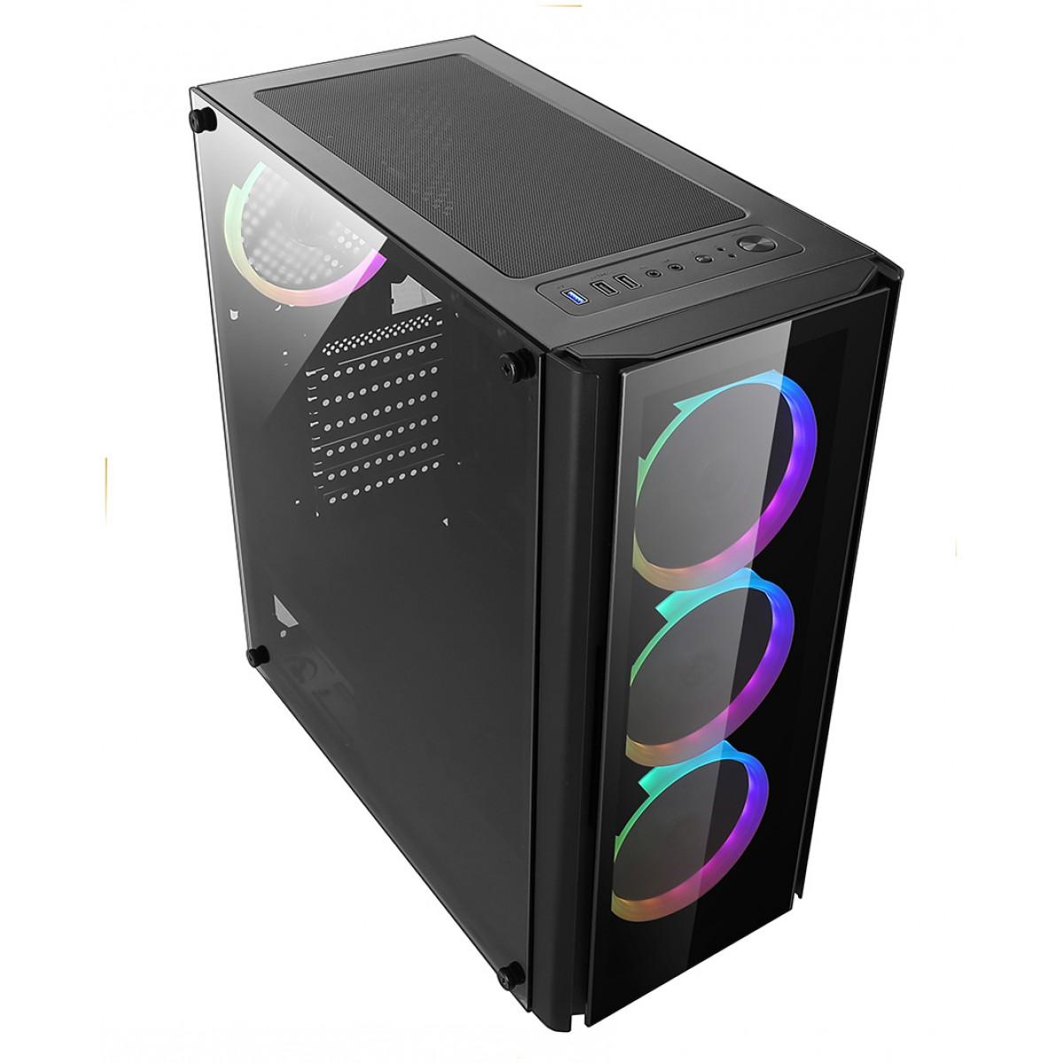 Gabinete Gamer liketec Streamer V2, RGB, Mid Tower, Com 6 Fans, Vidro Temperado, Black, S-Fonte