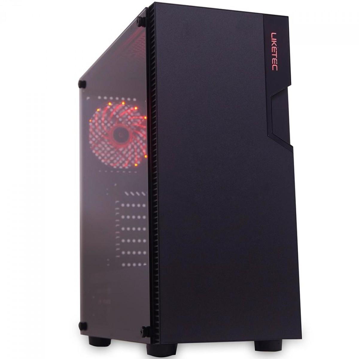 Gabinete Gamer Liketec Titan 192-2 Vidro Temperado LED Vermelho Mid Tower S/Fonte