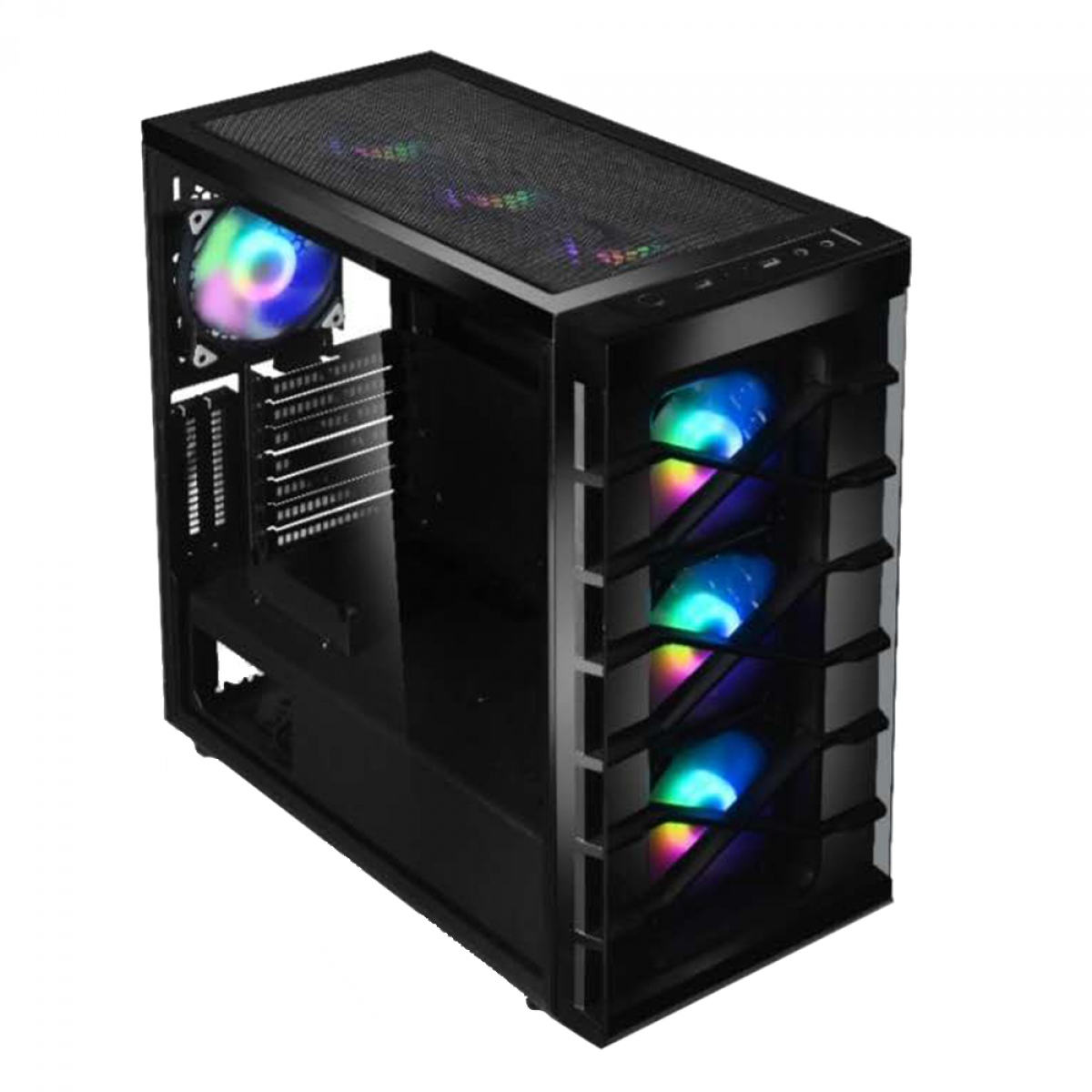 Gabinete Gamer Liketec Zeus, Mid Tower, RGB, Vidro Temperado, Black, ATX, Sem Fonte, Com 4 Fans