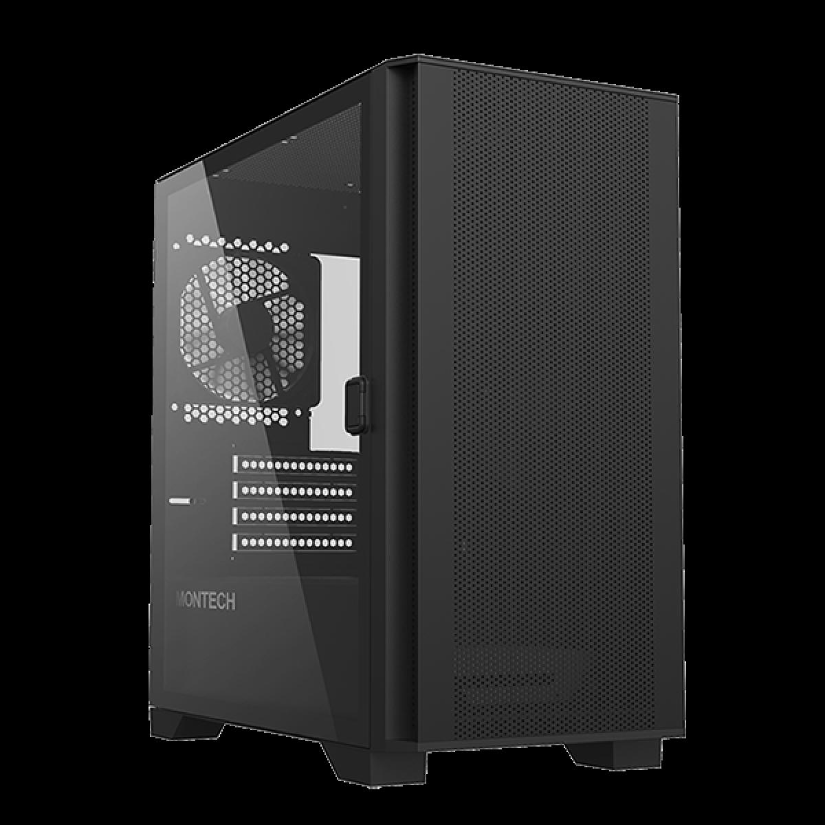 Gabinete Gamer Montech AIR 100 Lite, Mini Tower, Black, Micro ATX, 2 Fans, Vidro Temperado