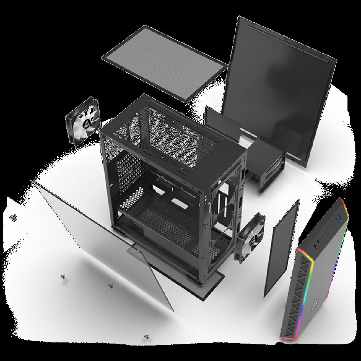 Gabinete Gamer Montech AIR 900 ARGB, Mid Tower, Vidro Temperado, Black, E-ATX, Sem Fonte, Com 2 Fans
