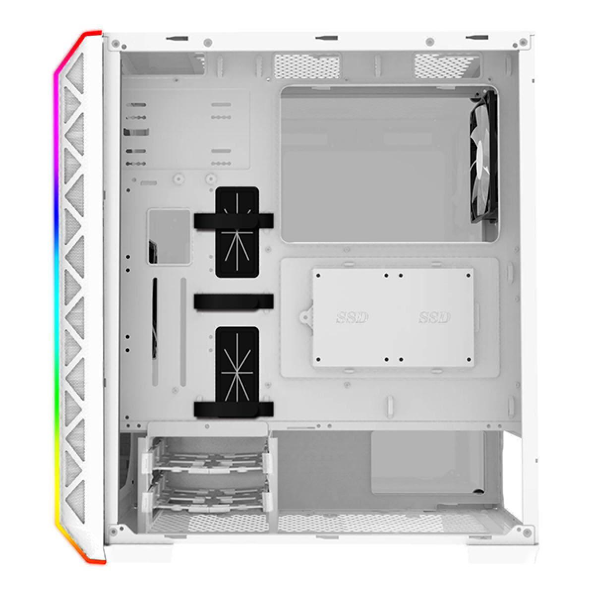 Gabinete Gamer Montech Air 900 ARGB, Mid Tower, Vidro Temperado, White, ATX, Sem Fonte, Com 2 Fans