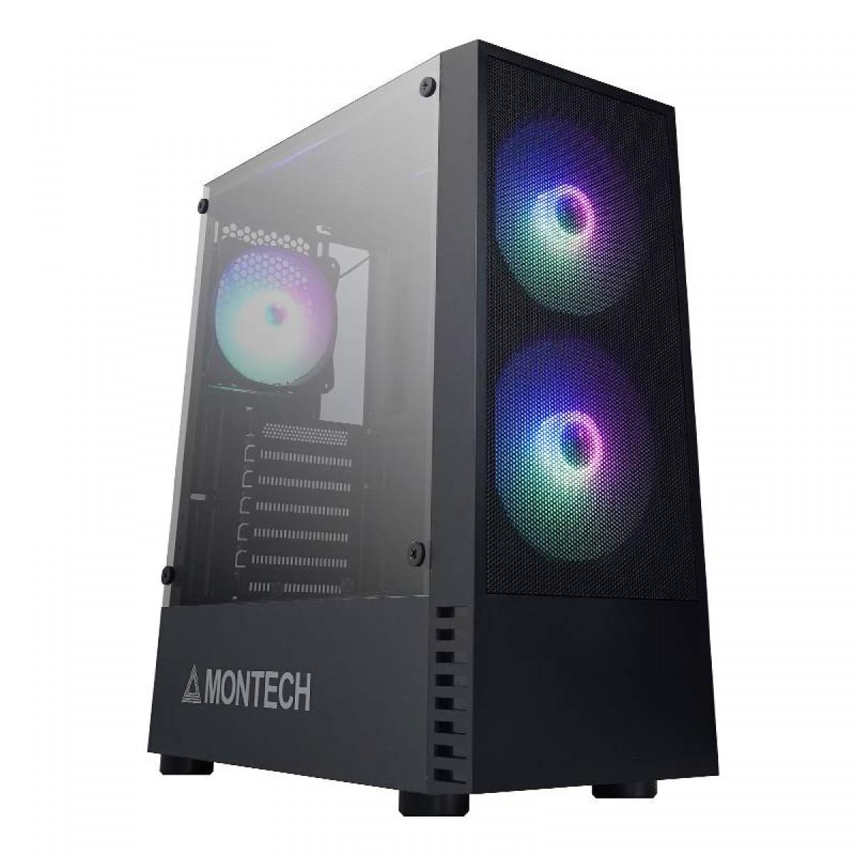 Gabinete Gamer Montech X2 MESH, Mid Tower, Vidro Temperado, Black, ATX, Sem Fonte, Com 3 Fans RGB