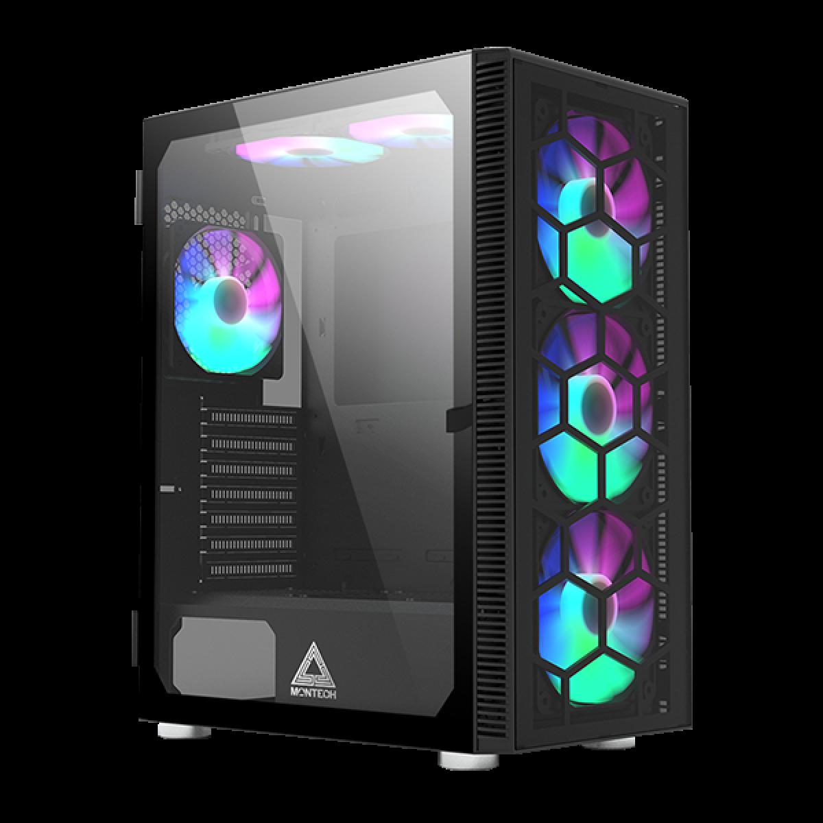 Gabinete Gamer Montech x3 Glass, Mid Tower, Black, ATX, Com 6 Fans RGB, Vidro Temperado