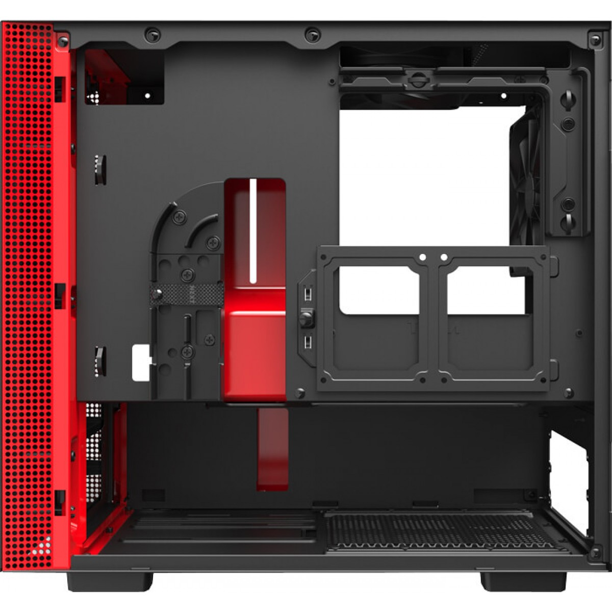 Gabinete Gamer NZXT H210, Mini Tower, Com 2 Fans, Vidro Temperado, Red, S-Fonte, CA-H210B-BR