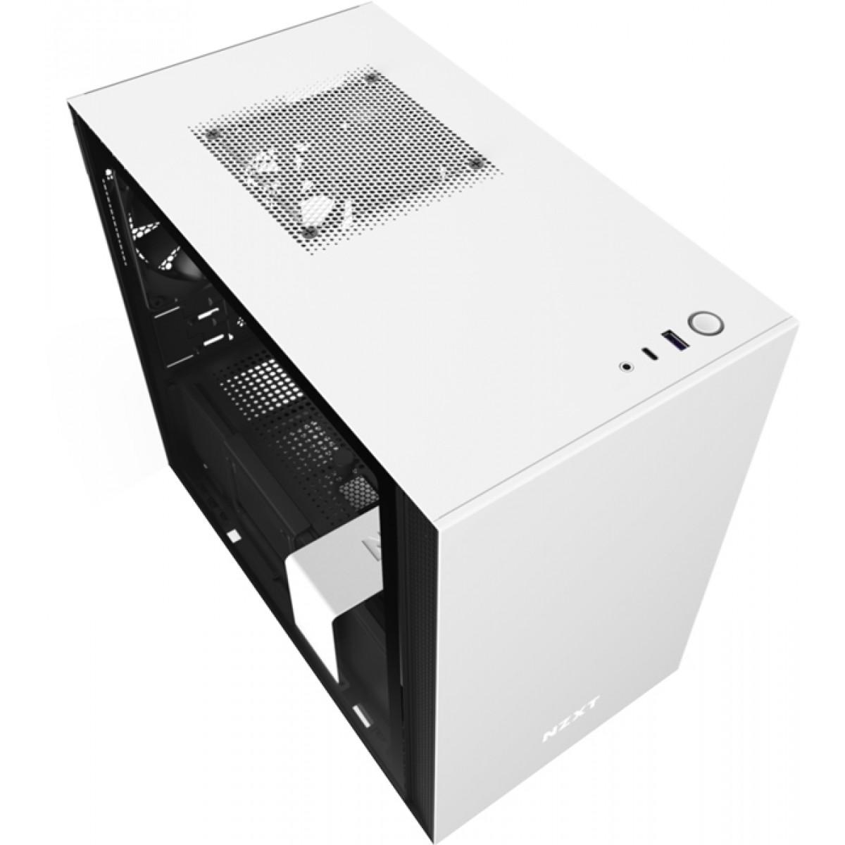 Gabinete Gamer NZXT H210, Mini Tower, Vidro Temperado, White, Sem Fonte, Com 2 Fans, CA-H210B-W1