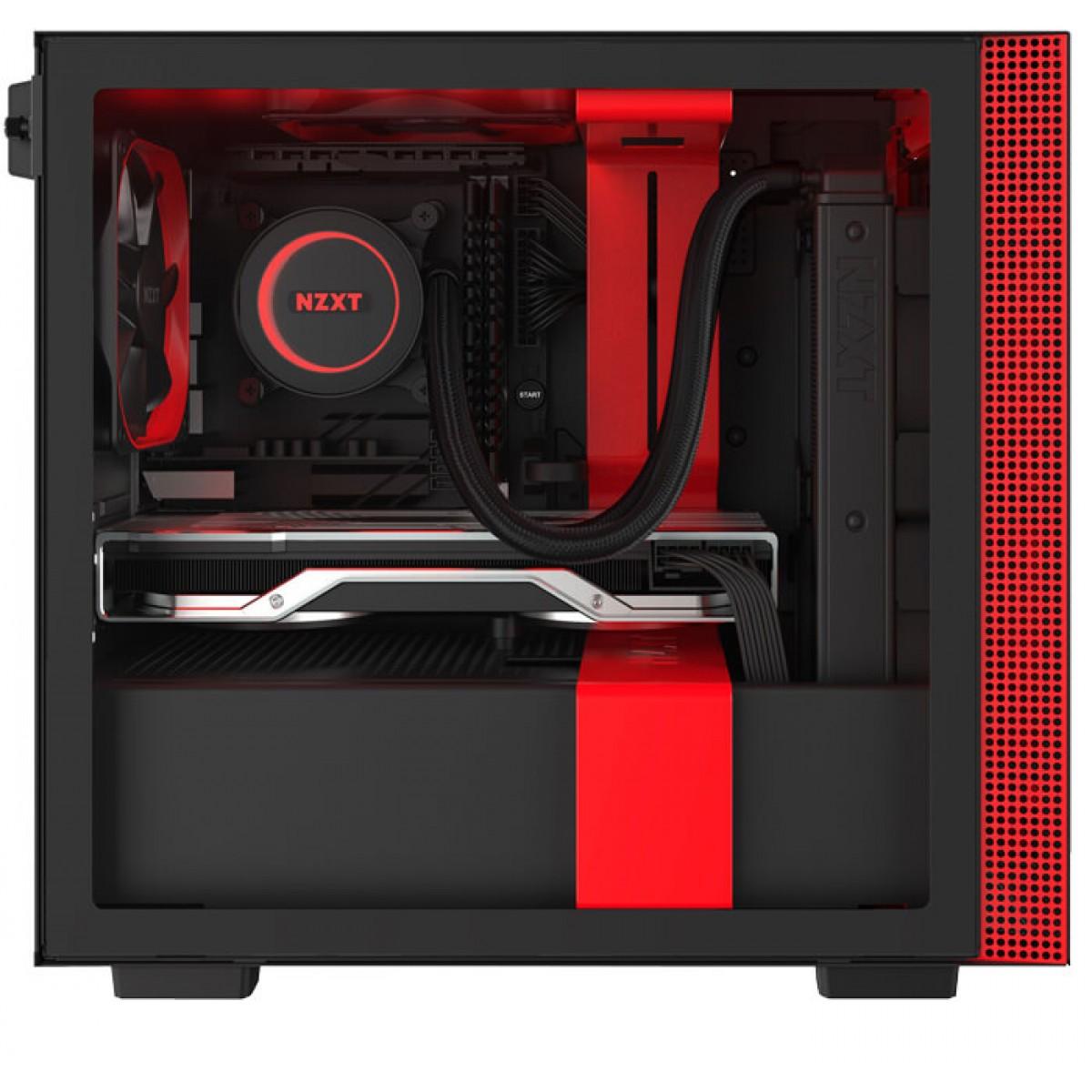 Gabinete Gamer NZXT H210i, Mini Tower, Vidro Temperado, Red, Sem Fonte, Com 2 Fans, CA-H210I-BR