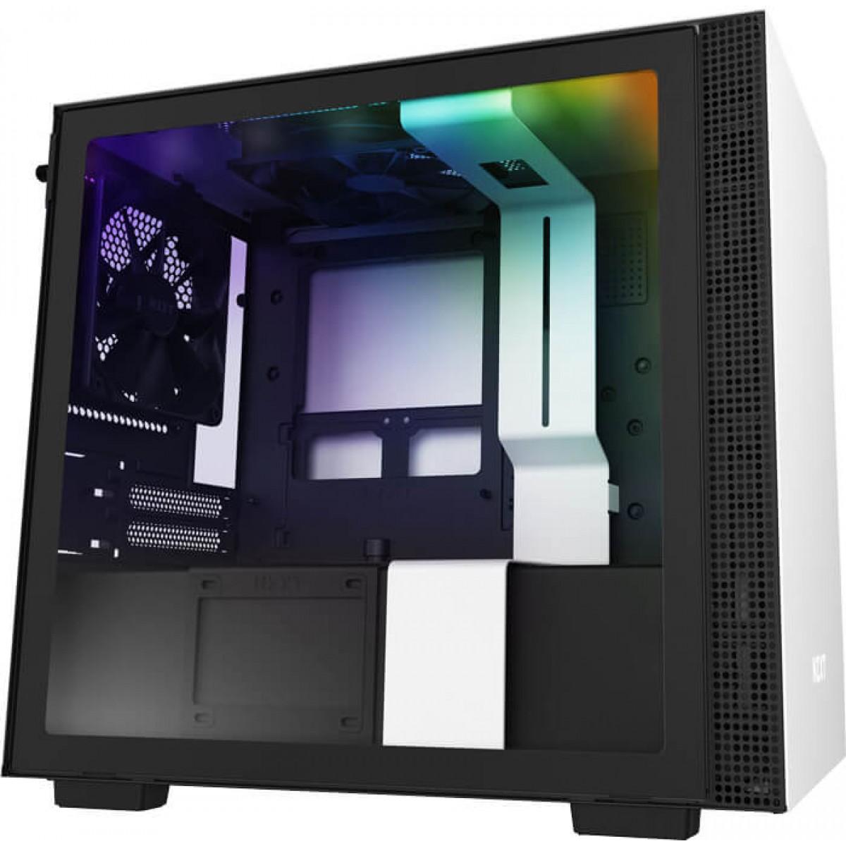 Gabinete Gamer NZXT H210i, Mini Tower, Com 2 Fans, Vidro Temperado, White, S-Fonte, CA-H210I-W1