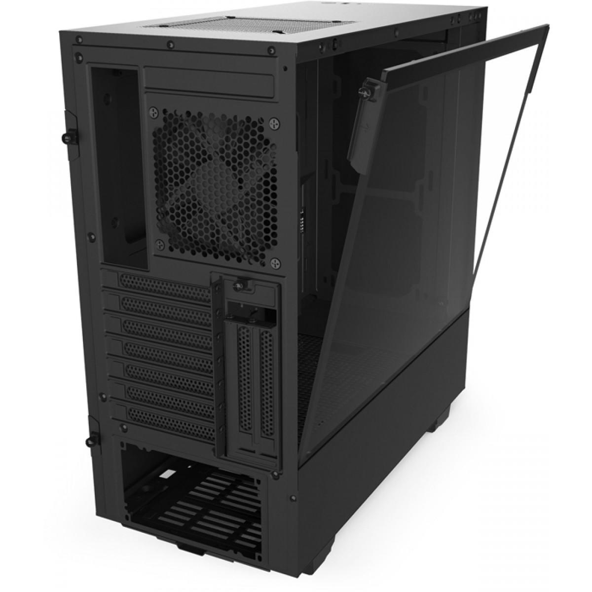 Gabinete Gamer NZXT H510i, Mid Tower, Vidro Temperado, Black, Sem Fonte, Com 2 Fans, CA-H510I-B1