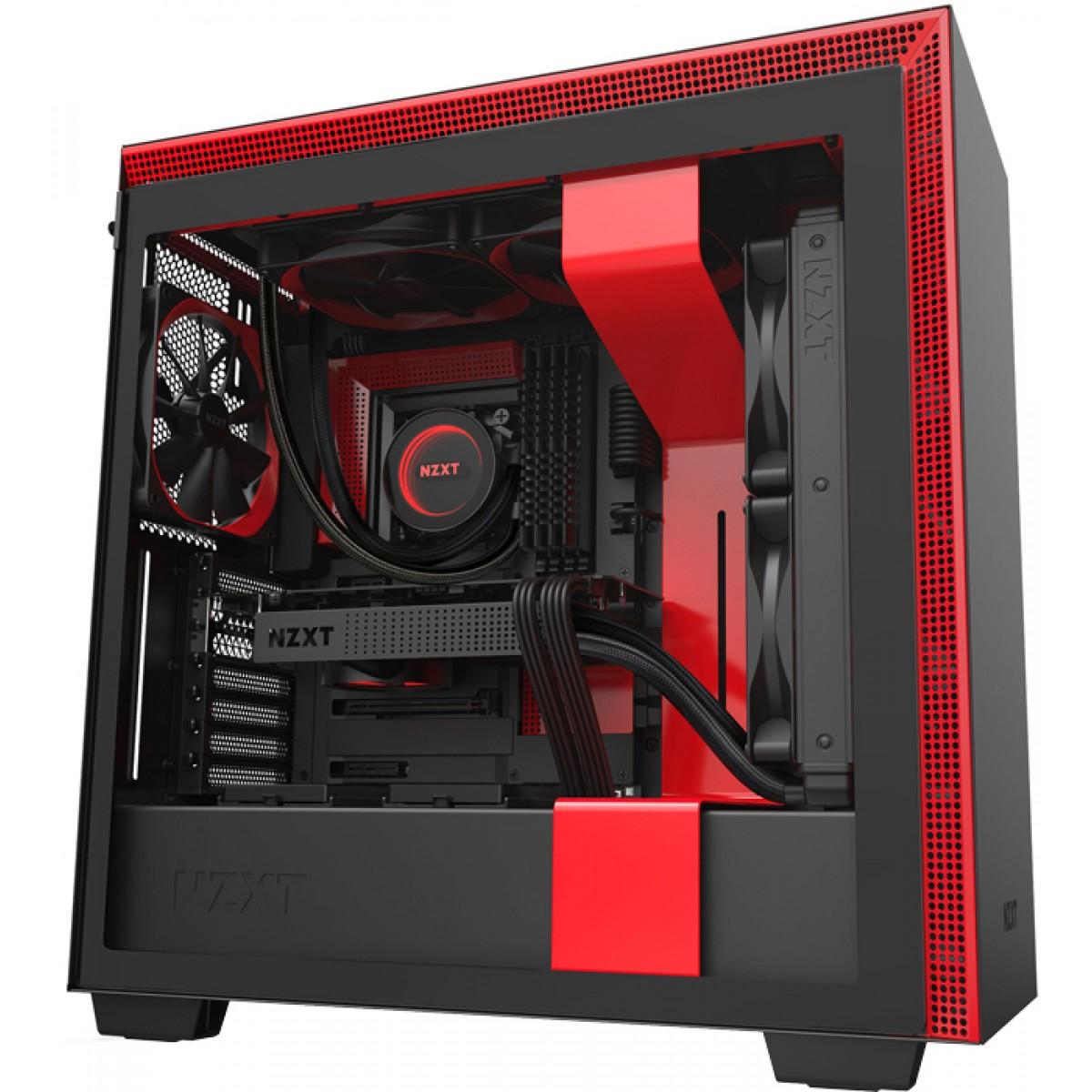 Gabinete Gamer NZXT, H710, Mid Tower, Vidro Temperado, Red, Sem Fonte, Com 4 Fans