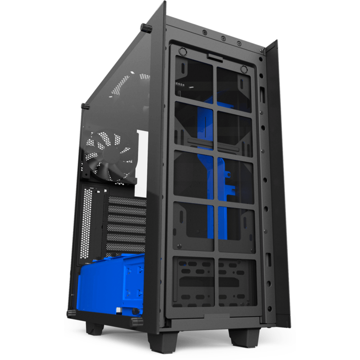 Gabinete Gamer NZXT S340 Elite, Mid Tower, Com 2 Fans, Vidro Temperado, Black-Blue, Sem Fonte, CA-S340W-B5