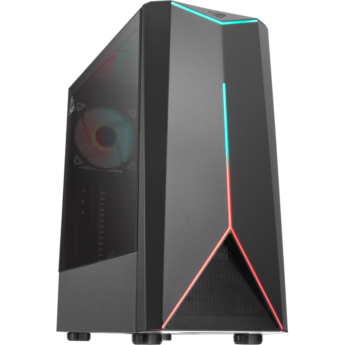 Gabinete Gamer One Power C03, Mid Tower, Com 1 Fan, Vidro Temperado, Black, Sem fonte
