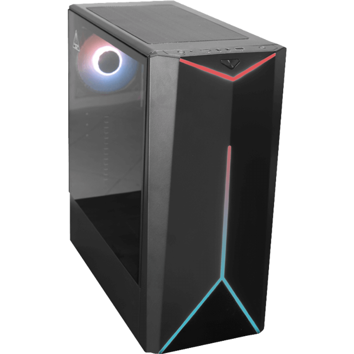 Gabinete Gamer One Power C03, Mid Tower, Com 1 Fan, Vidro Temperado, Black, Sem fonte