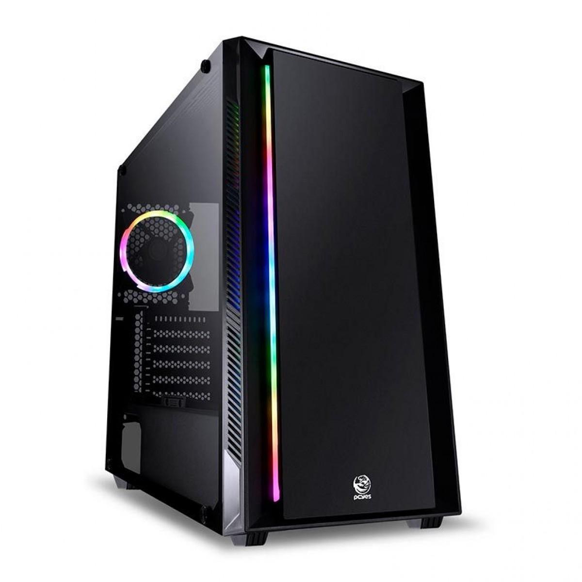 Gabinete Gamer PcYes, Chroma, RGB, Full Tower, Vidro Temperado, Sem Fonte, Com 1 Fan, CHPTRGB1FCV