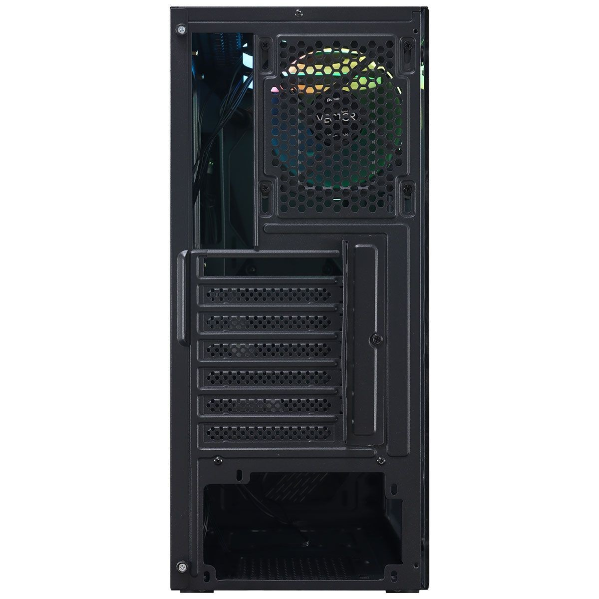 Gabinete Gamer PCyes Vector, Mid Tower, Com 3 Fans Blue, Vidro Temperado, Black, Sem Fonte, VCPTRGB3FV