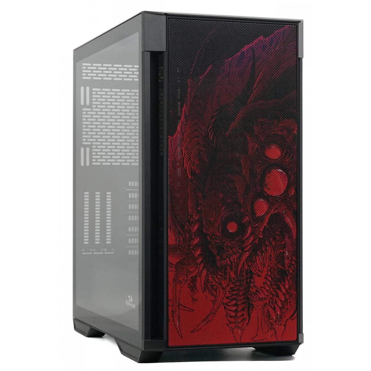 Gabinete Gamer ReDragon Infernal Dragon Strafe, Mid Tower, Vidro Temperado, Black, ATX, Sem Fonte, Sem Fan, GC-706IF