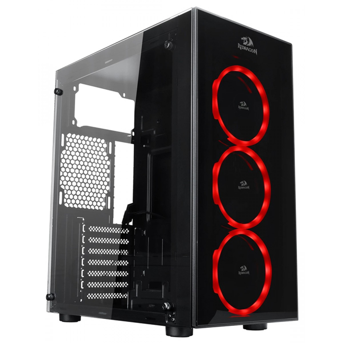 Gabinete Gamer Redragon, Thundercracker, Mid Tower, Vidro Temperado, Black, Sem Fonte, Com 3 Fans RGB