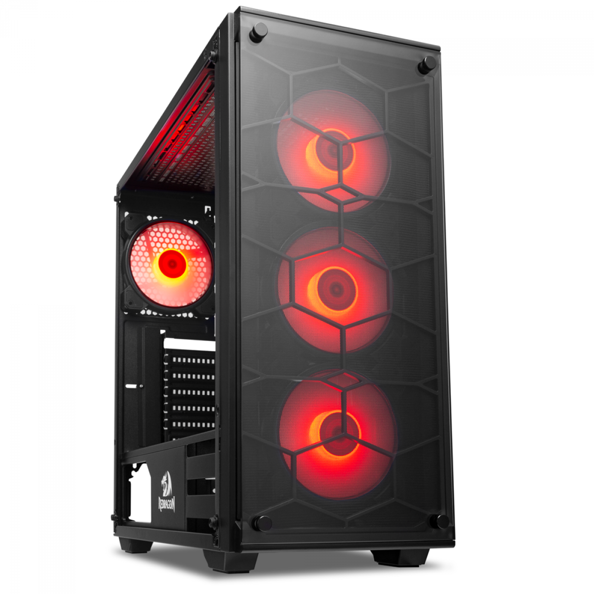 Gabinete Gamer Redragon Wheel Jack, Mid Tower, Vidro Temperado, Black, Sem fonte, Com 4 Fans Red