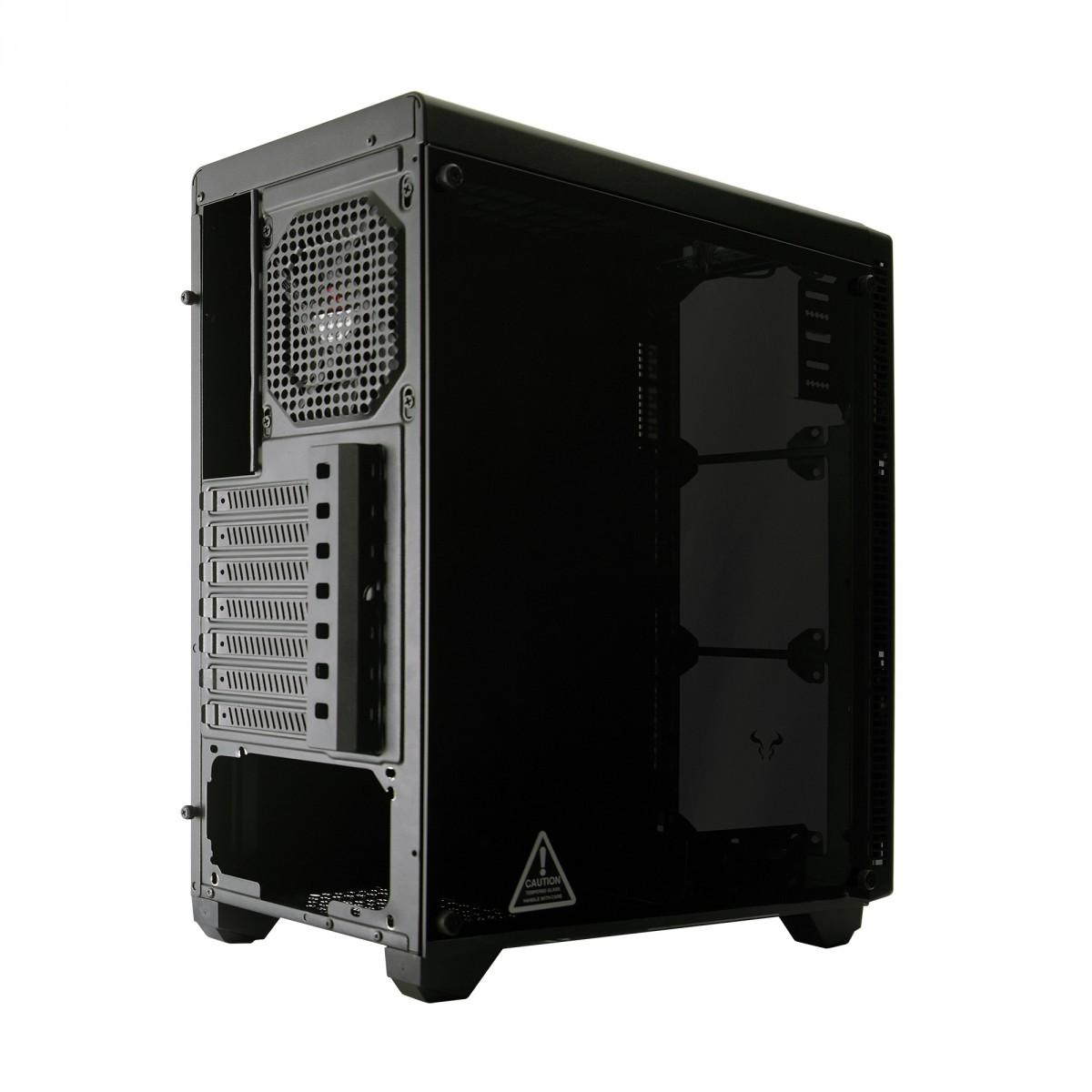 Gabinete Gamer Riotoro CR110TGS RGB, Mid Tower, Vidro Temperado, Black, Sem Fonte, Com 1 Fan