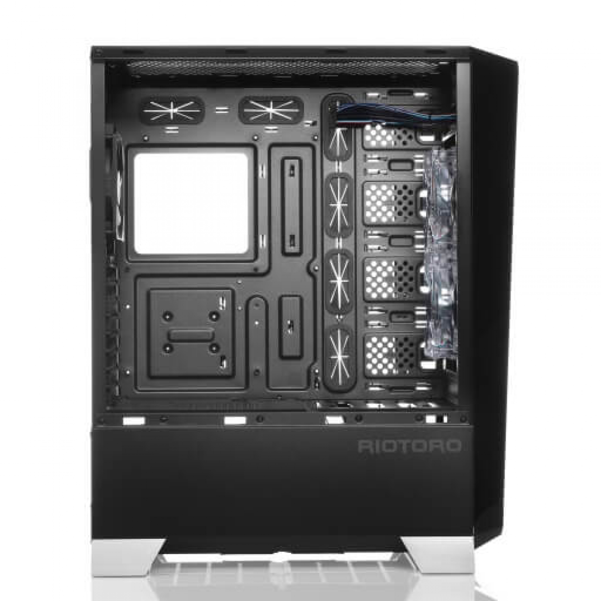 Gabinete Gamer Riotoro Prism, Full Tower, RGB, Lateral em Acrílico, Black, Sem Fonte, Com 2 Fans, CR1280