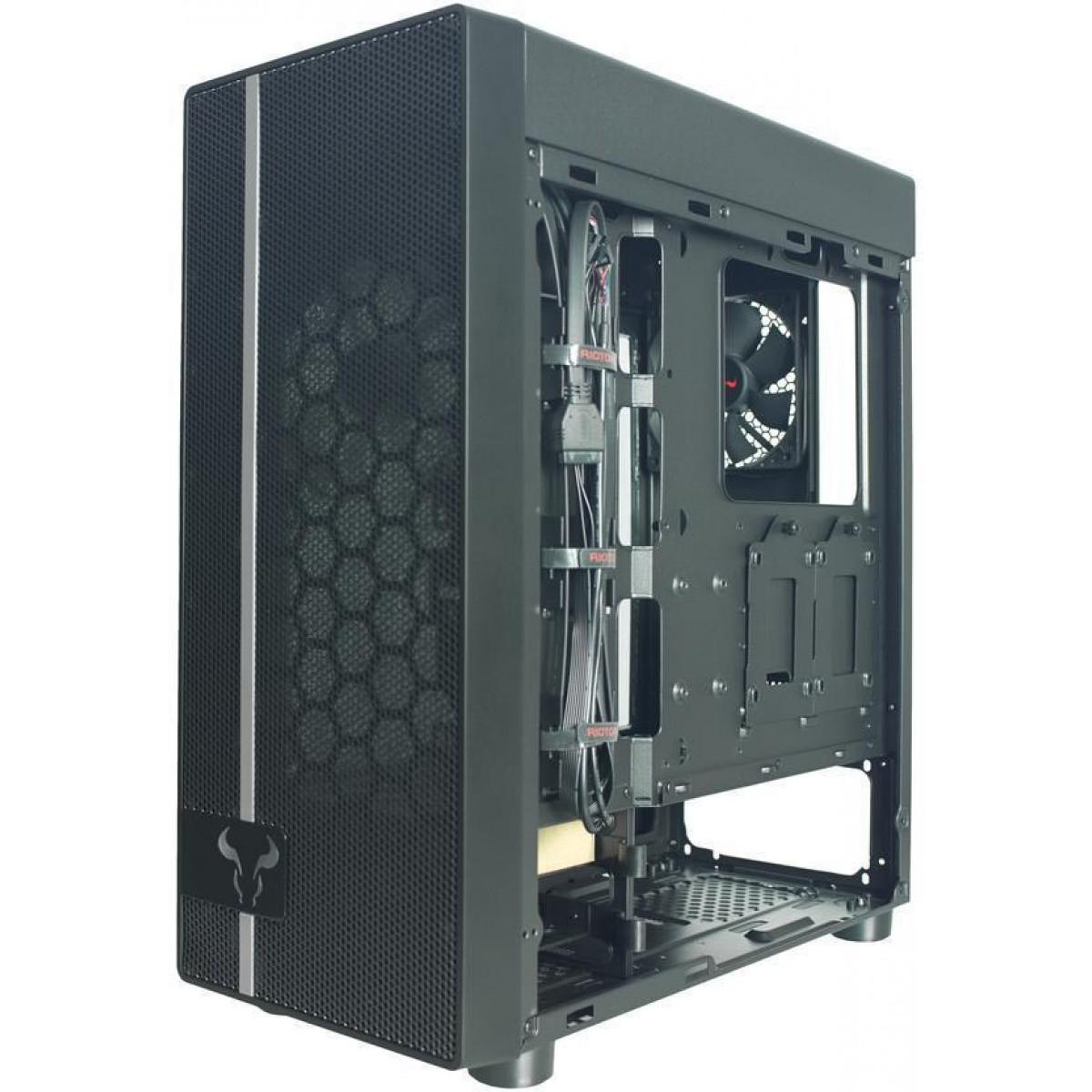 Gabinete Gamer Riotoro CR400, Mid Tower, Black, Sem Fonte, Com 2 Fans