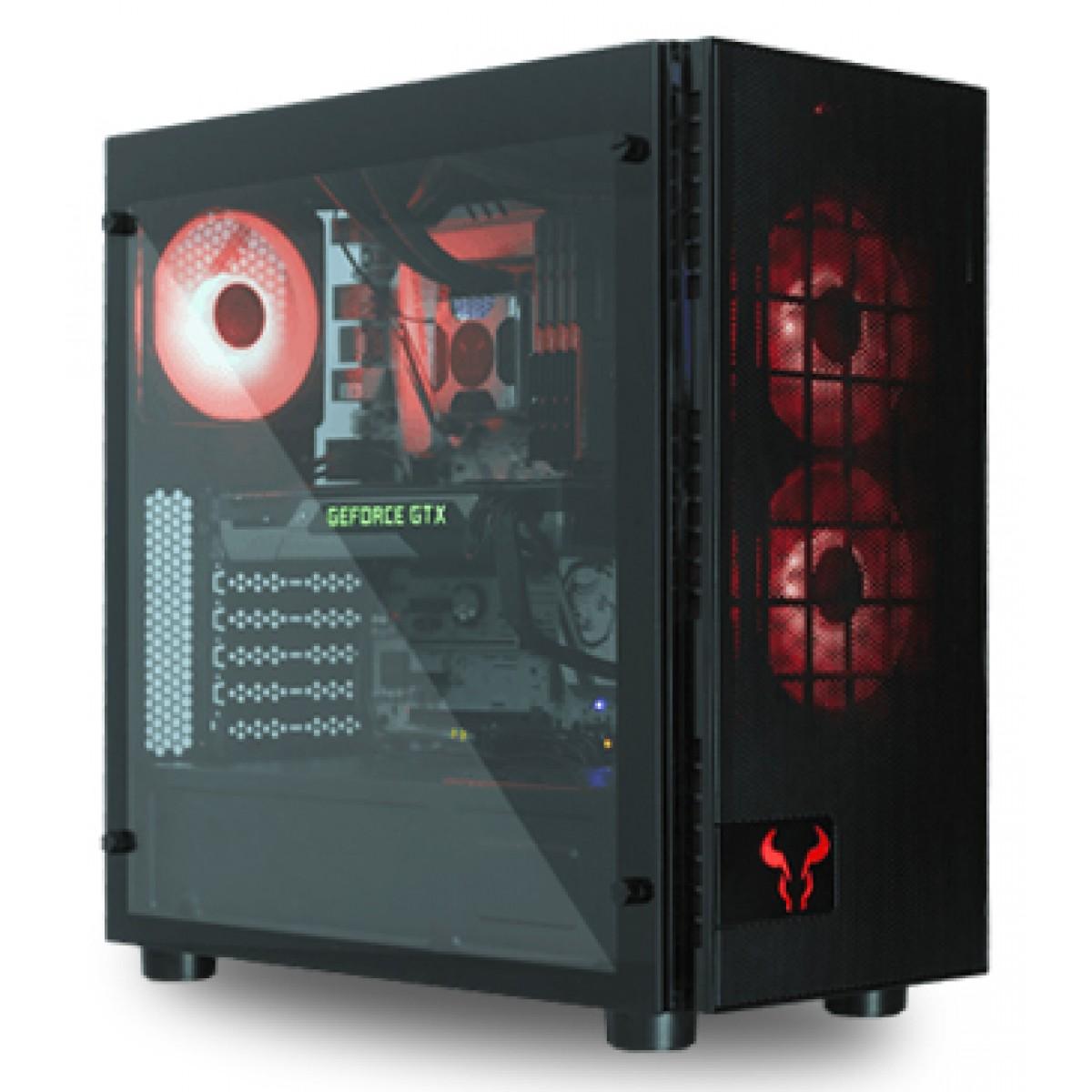 Gabinete Gamer Riotoro CR500, Mid Tower, Vidro Temperado, Black, Sem Fonte, Com 3 Fans