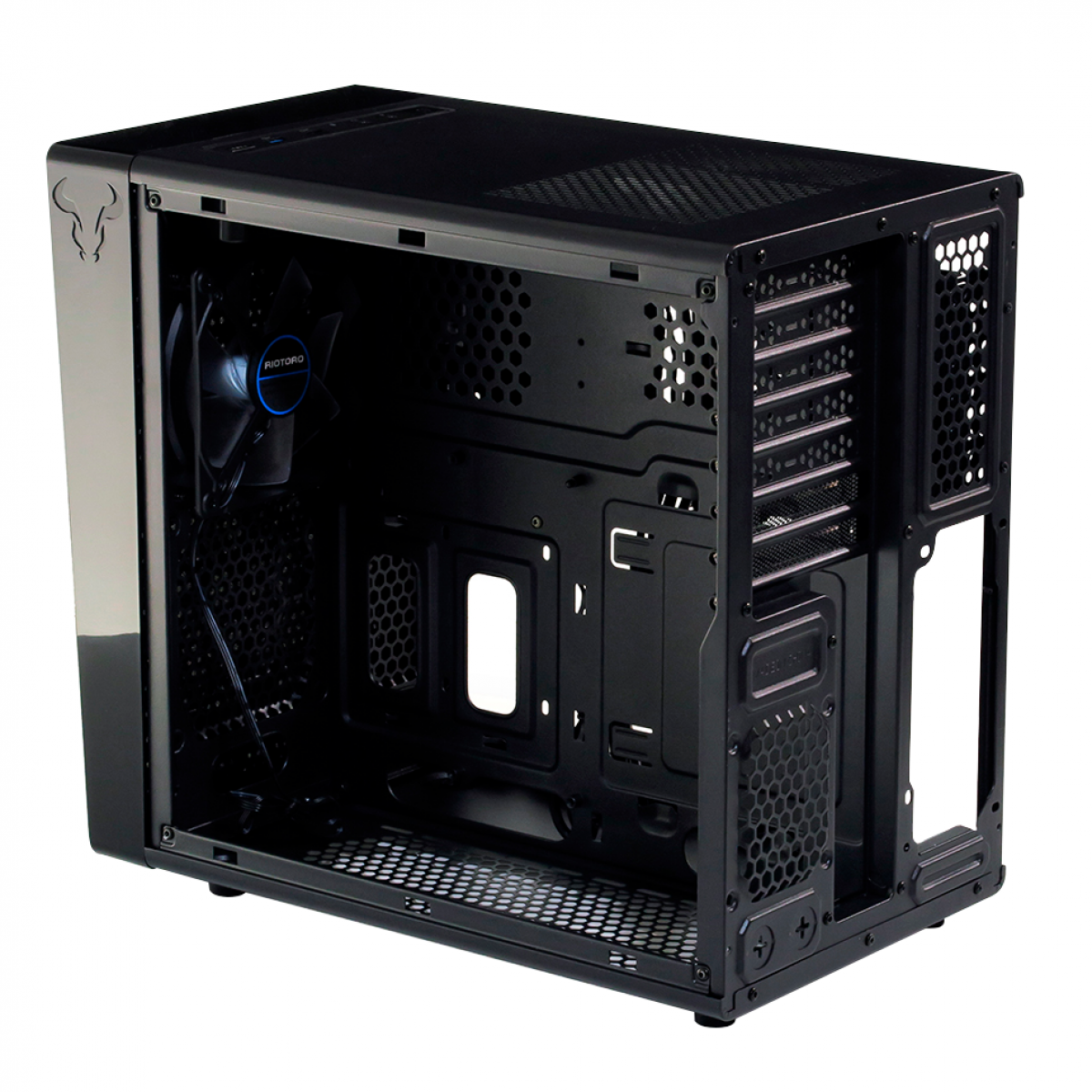 Gabinete Gamer Riotoro, Mid Tower, Black, Sem Fonte, Com 1 Fan, CR1080