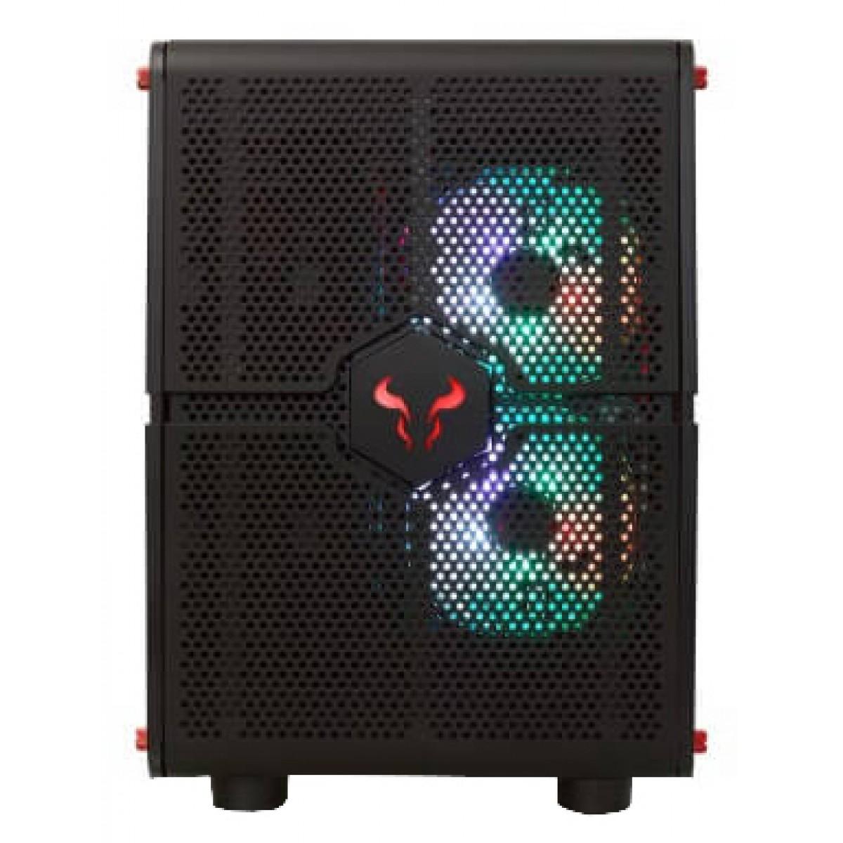 Gabinete Gamer Riotoro Morpheus, Mini/Mid Tower, Black, GPX100, Sem Fonte, Com 3 Fans