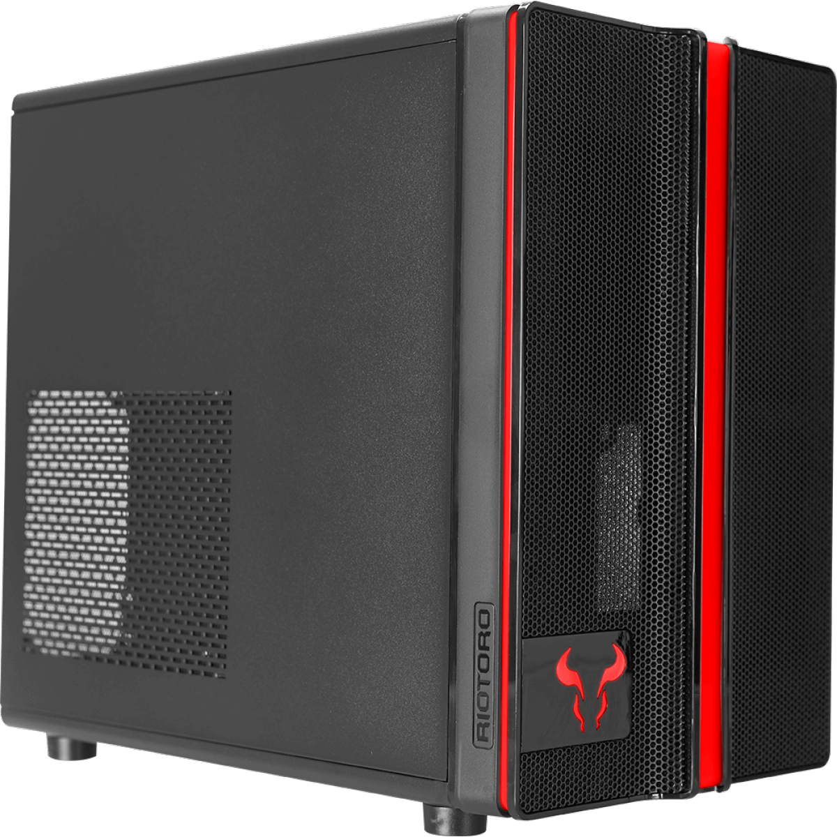 Gabinete Gamer Riotoro Small, Mini Tower, Black, Sem Fonte, Com 1 Fan, CR1088