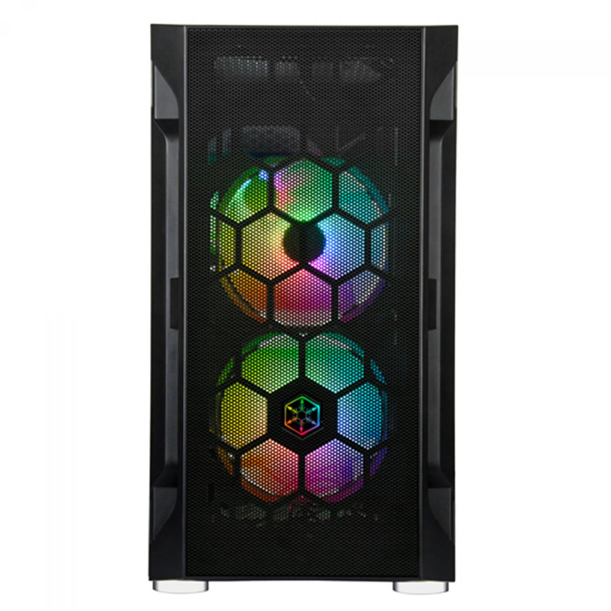 Gabinete Gamer SilverStone Fara H1M PRO, Mini Tower, RGB, Vidro Temperado, Black, Micro-ATX, Sem Fonte, Com 3 Fans ARGB, SST-FAH1MB-PRO