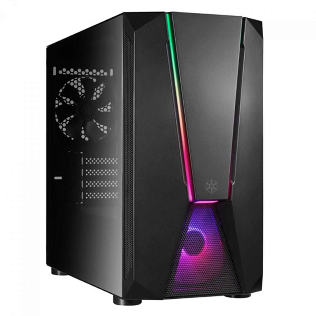 Gabinete Gamer SilverStone Fara V1M PRO, Mini Tower, RGB, Vidro Temperado, Black, Micro-ATX, Sem Fonte, Com 2 Fans RGB, SST-FAV1MB-PRO