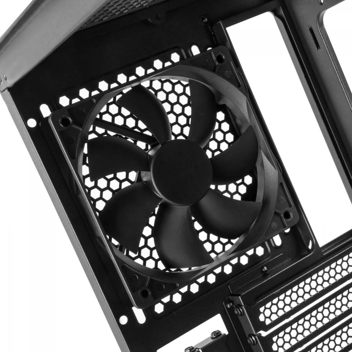 Gabinete Gamer SilverStone Seta A1, Mid Tower, Vidro Temperado, Black, Sem fonte, Com 3 Fans, SST-SEA1TB-G