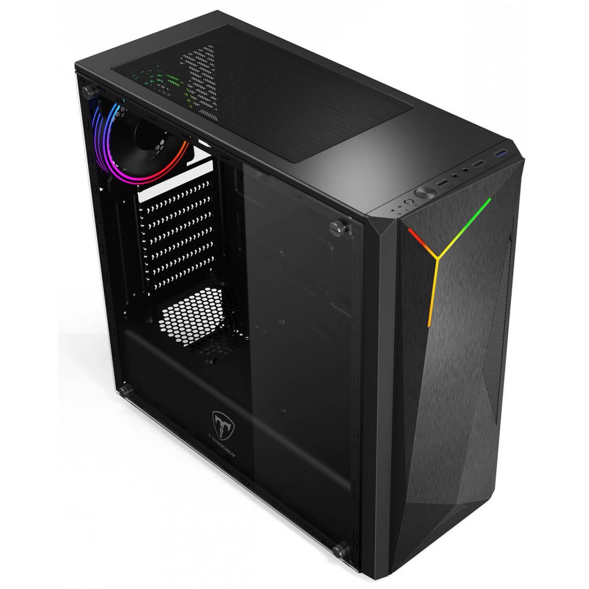Gabinete Gamer T-Dagger G28B, Mid Tower, RGB, Black, ATX, Sem Fonte, Sem Fan, TGC-G28B - Open Box