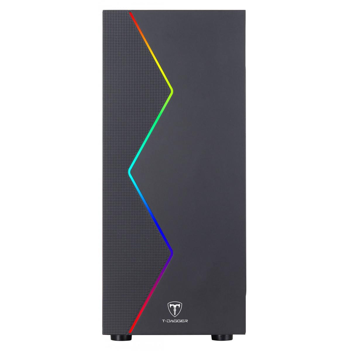 Gabinete Gamer T-Dagger P03B, Mid Tower, RGB, Black, ATX, Sem Fonte, Sem Fan, TGC-P03B