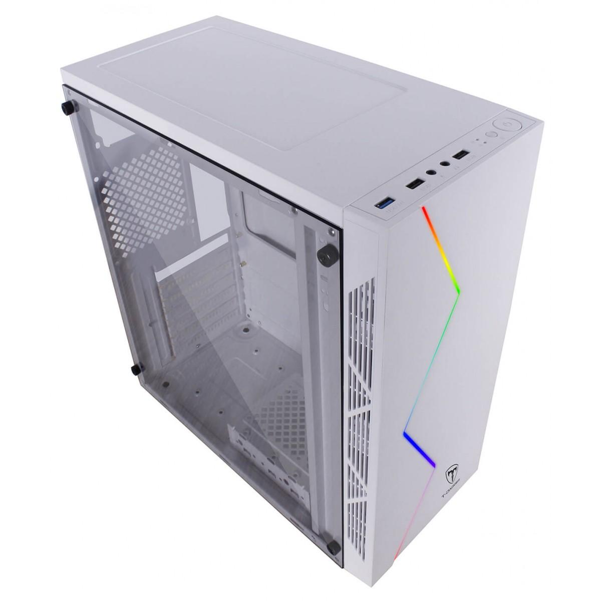 Gabinete Gamer T-Dagger P03W, Mid Tower, RGB, White, ATX, Sem Fonte, Sem Fan, TGC-P03W