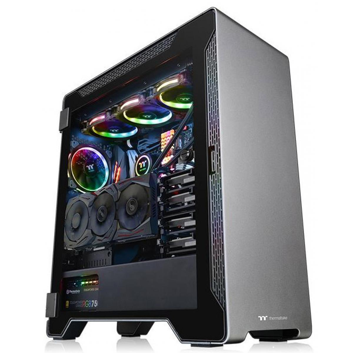 Gabinete Gamer Thermaltake A500 Aluminm TG, Mid Tower, Com 3 Fans, Vidro Temperado, S-Fonte, CA-1L3-00M9WN-00