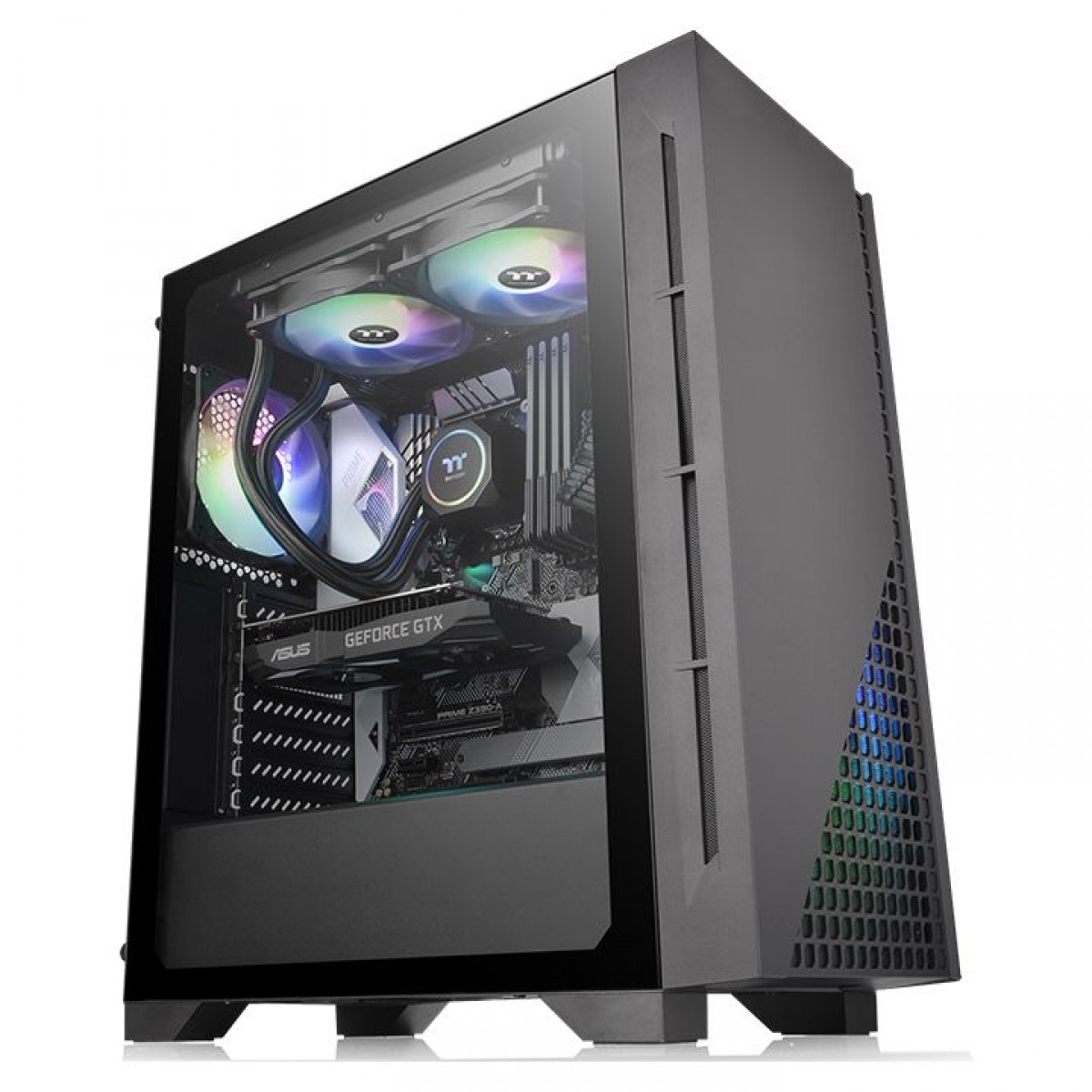 Gabinete Gamer Thermaltake H330 TG, Mid Tower, Vidro Temperado, Black, ATX, Sem Fonte, Com 1 Fan, CA-1R8-00M1WN-00