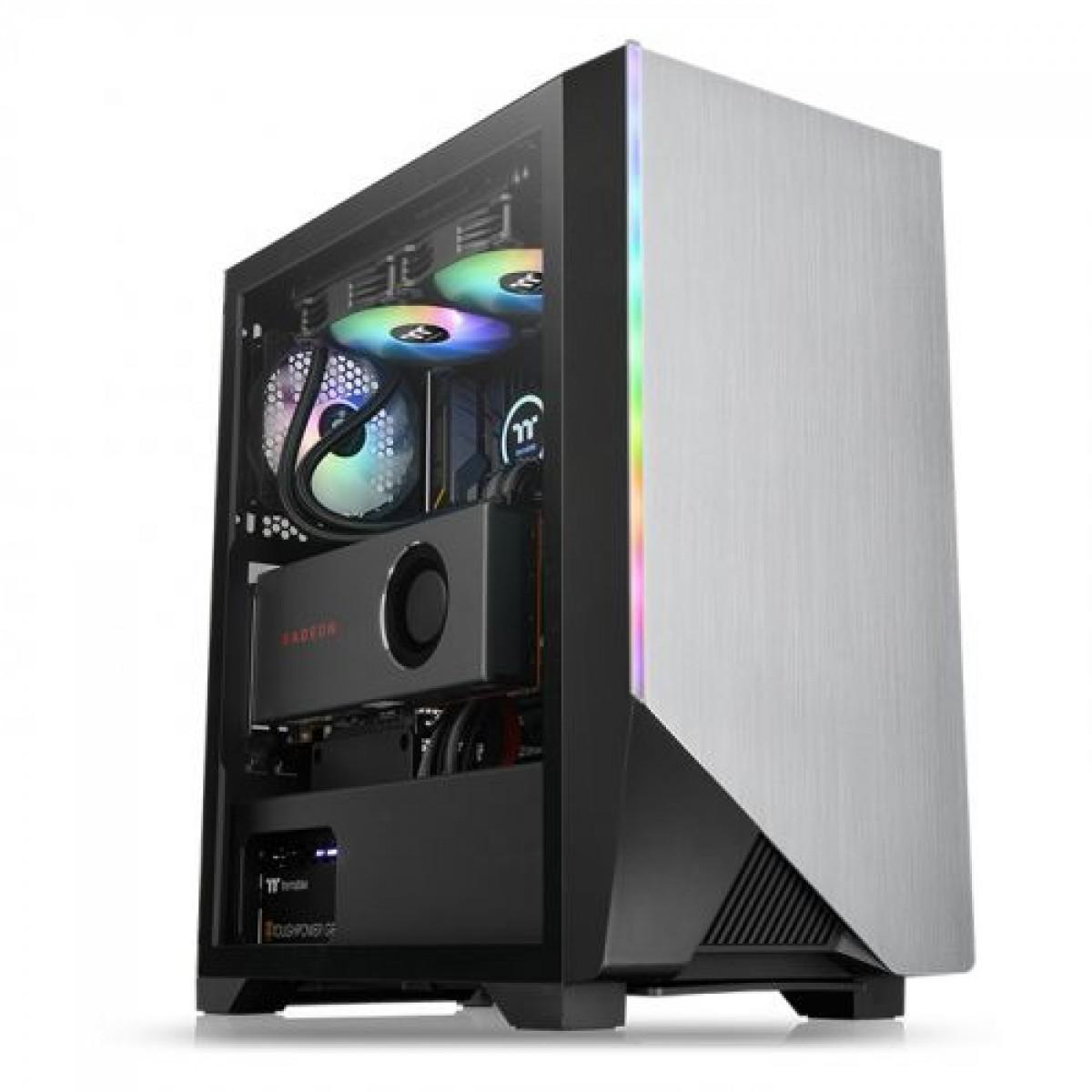 Gabinete Gamer Thermaltake H550 TG, ARGB, Mid Tower, Vidro Temperado, Black, Com 1 Fans, Sem Fonte, CA-1P4-00M1WN-00