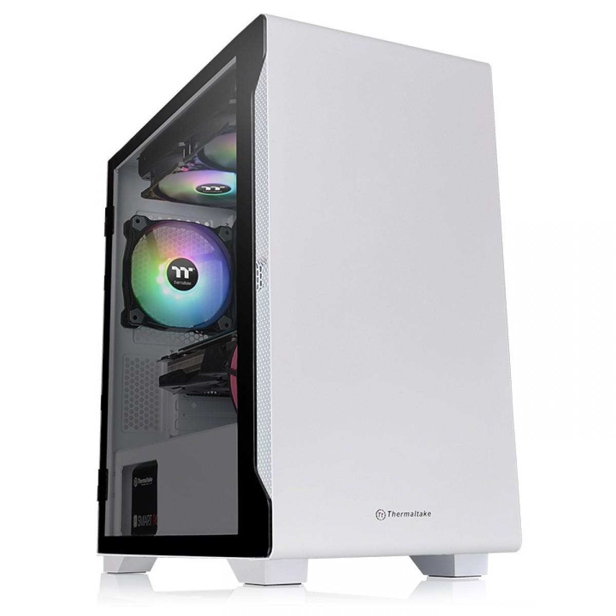 Gabinete Gamer ThermalTake S100, Mini Tower, Vidro Temperado, White, ATX, Sem Fonte, Com 1 Fan, CA-1Q9-00S6WN-00