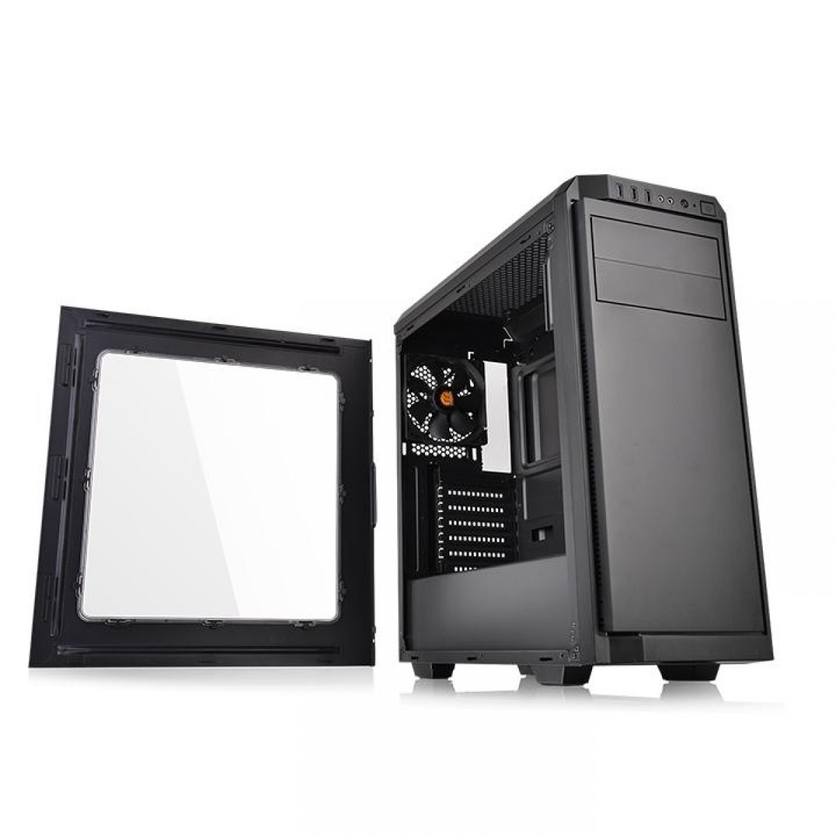 Gabinete Gamer ThermalTake V100, Mid Tower, Black, ATX, Sem Fonte, Com 1 Fan, CA-1K7-00M1WN-00