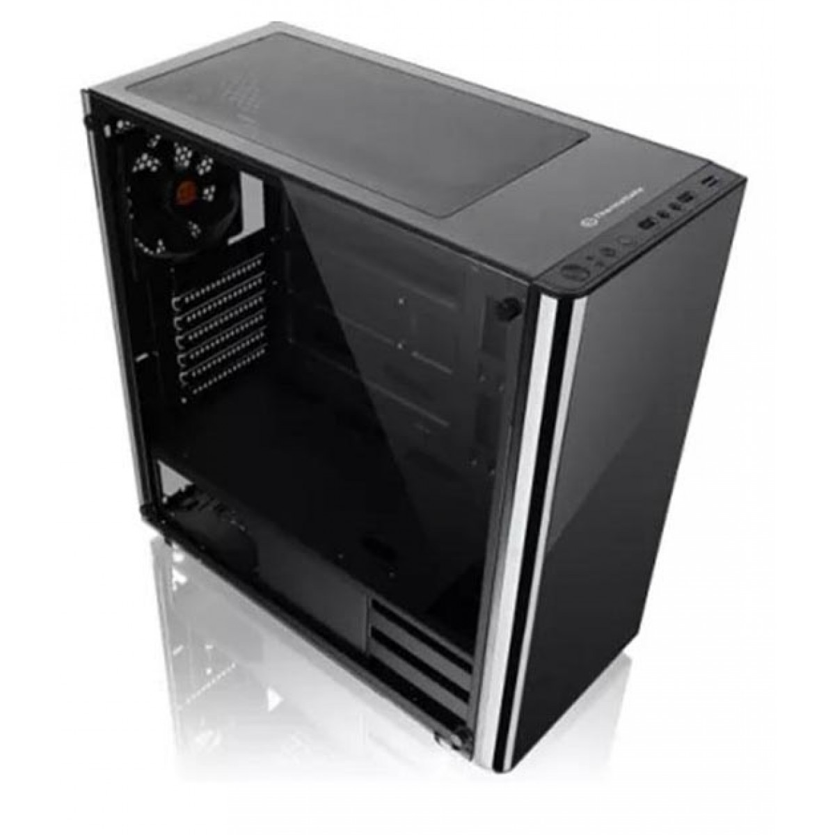 Gabinete Gamer Thermaltake V200, Mid Tower, Sem Fan, Vidro temperado, Black, Com Fonte 500W, CA-3K8-50M1WZ-01