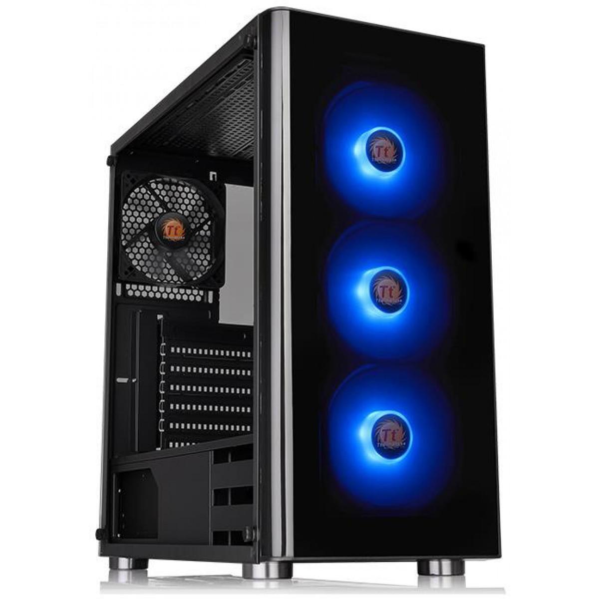 Gabinete Gamer Thermaltake V200, Mid Tower, Sem Fan, Vidro temperado, Black, Com Fonte 600W, CA-3K8-60M1WZ-01