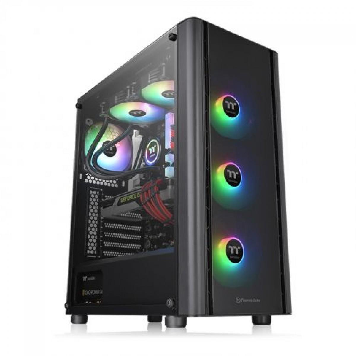 Gabinete Gamer Thermaltake V250 TG ARGB, Mid Tower, Vidro Temperado, Black, ATX, Sem Fonte, Com 4 Fans, CA-1Q5-00M1WN-00